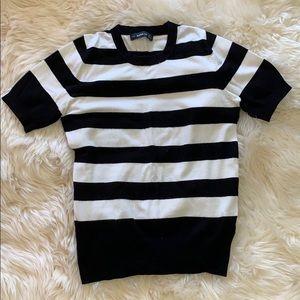 Zara short sleeve black and white knit sweater